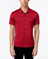 Alfani Men's Ethan Heather Short Sleeve Shirt Classic Fit Clay Red