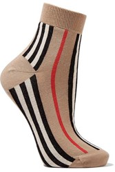 Burberry Striped Cotton Blend Socks Beige