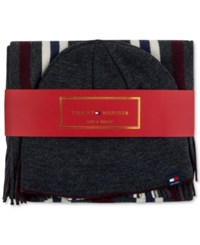 Tommy Hilfiger Men's Hat And Scarf Set Onyx