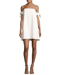 Milly Jade Off The Shoulder Italian Cady Swing Dress White