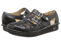 Alegria Pesca Fancy Black Leather Women's Hook And Loop Shoes