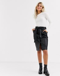New Look Midi Leather Pencil Skirt In Black