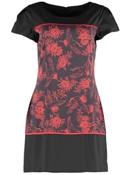 Wolf And Whistle Stork Print Dress Red Black