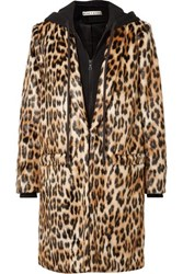 Alice Olivia Kylie Leopard Print Faux Fur And Cotton Jersey Coat Leopard Print