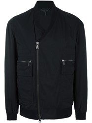 Helmut Lang V Neck Bomber Jacket Black