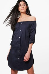 Boohoo Button Front Off Shoulder Cotton Sundress Navy