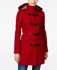 Tommy Hilfiger Hooded Toggle Walker Coat Red