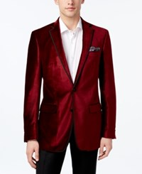 Tallia Men's Big And Tall Slim Fit Red Velvet Sport Coat