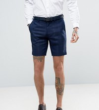 Only And Sons Skinny Shorts In Textured Check Navy