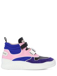 Emilio Pucci 40Mm Leather And Suede High Top Sneakers Purple