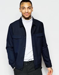 Asos Smart Harrington With Pinstripe In Navy Navy