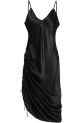 Cami Nyc Woman Ruched Silk Satin Dress Black