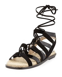 Paul Andrew Suede And Patent Espadrille Sandal Black