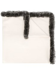 N.Peal Trimmed Shawl Scarf White