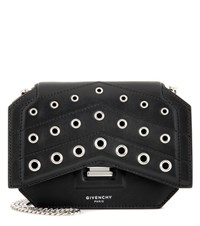 Givenchy Bow Cut Embellished Leather Shoulder Bag Black