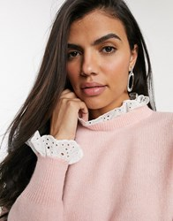 River Island Sweater With Broderie Collar And Cuffs In Pink