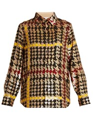 Ashish Button Down Hound's Tooth Sequin Embellished Shirt Multi