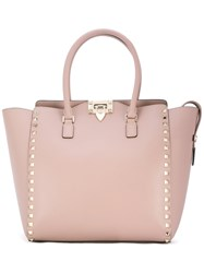 Valentino Garavani Rockstud Trapeze Tote Women Leather Metal Other One Size Nude Neutrals