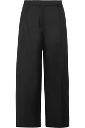 Carven Wool Gabardine Wide Leg Pants Black
