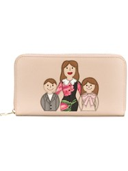 Dolce And Gabbana Family Patch Wallet Nude And Neutrals
