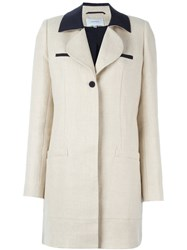 Carven Contrast Collar Coat Nude And Neutrals