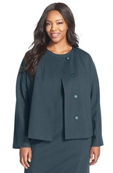 Plus Size Women's Ellen Tracy Stretch Knit Peplum Jacket Spruce