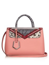 Fendi Mini 2Jours Bag Bugs Leather Tote Pink Multi