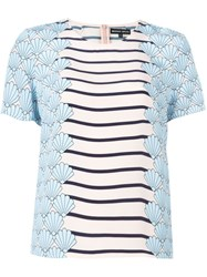 Markus Lupfer Striped Shell Print Blouse Blue