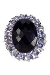 Olivia Leone 17.81 Carat Genuine Dyed Sapphire And Tanzanite .925 Sterling Silver Ring Blue