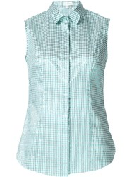 Delpozo Checked Sleeveless Shirt Green