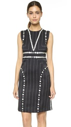 Edun Square Pinstripe Dress Black
