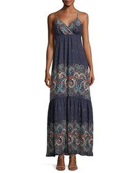 Laundry By Shelli Segal Sleeveless Printed Tiered Maxi Dress Blue Pattern