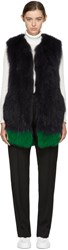 Yves Salomon Navy And Green Knit Fur Vest
