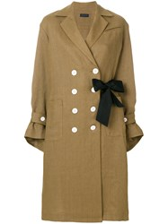 Eudon Choi Double Buttoned Trench Coat Brown