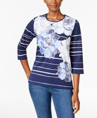 Alfred Dunner Striped Floral Print Top Navy