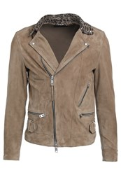 Allsaints Leo Leather Jacket Sand Brown Tan