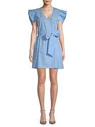 Alexia Admor Faux Pearl Embellished Cotton Dress Blue