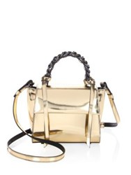 Elena Ghisellini Mini Angel Shine Metallic Leather Satchel Silver Gold