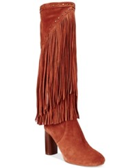 Inc International Concepts Women's Tolla Tall Fringe Boots Only At Macy's Women's Shoes Spiced Orange