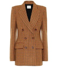 Khaite Darla Gingham Wool Felt Blazer Orange