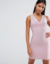 Wow Couture Bandage Plunge Front Midi Dress Blush Pink