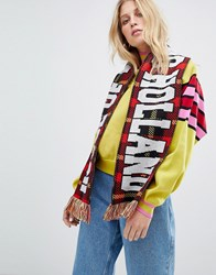 House Of Holland Unisex Checked Football Scarf Red Multi