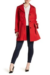 Via Spiga Detachable Hood Trench Coat Plus Size Red