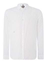 Peter Werth Henshall Polka Dot Button Down Shirt White