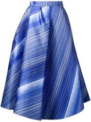 Vika Gazinskaya Striped A Line Skirt Blue