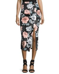 Minkpink Garden Of Eden Velvet Midi Skirt Black Pattern
