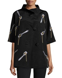 Libertine Spaghetti And Fork Half Sleeve Swing Coat Black Women's