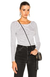 Frame Denim Boatneck Long Sleeve In Stripes White Stripes White