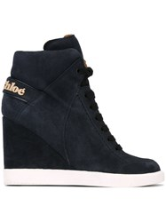 See By Chloe Wedge Hi Top Sneakers Blue