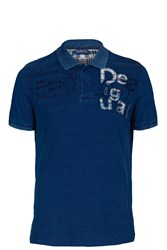 Desigual Indi Go Patchworked Polo Shirt Blue
